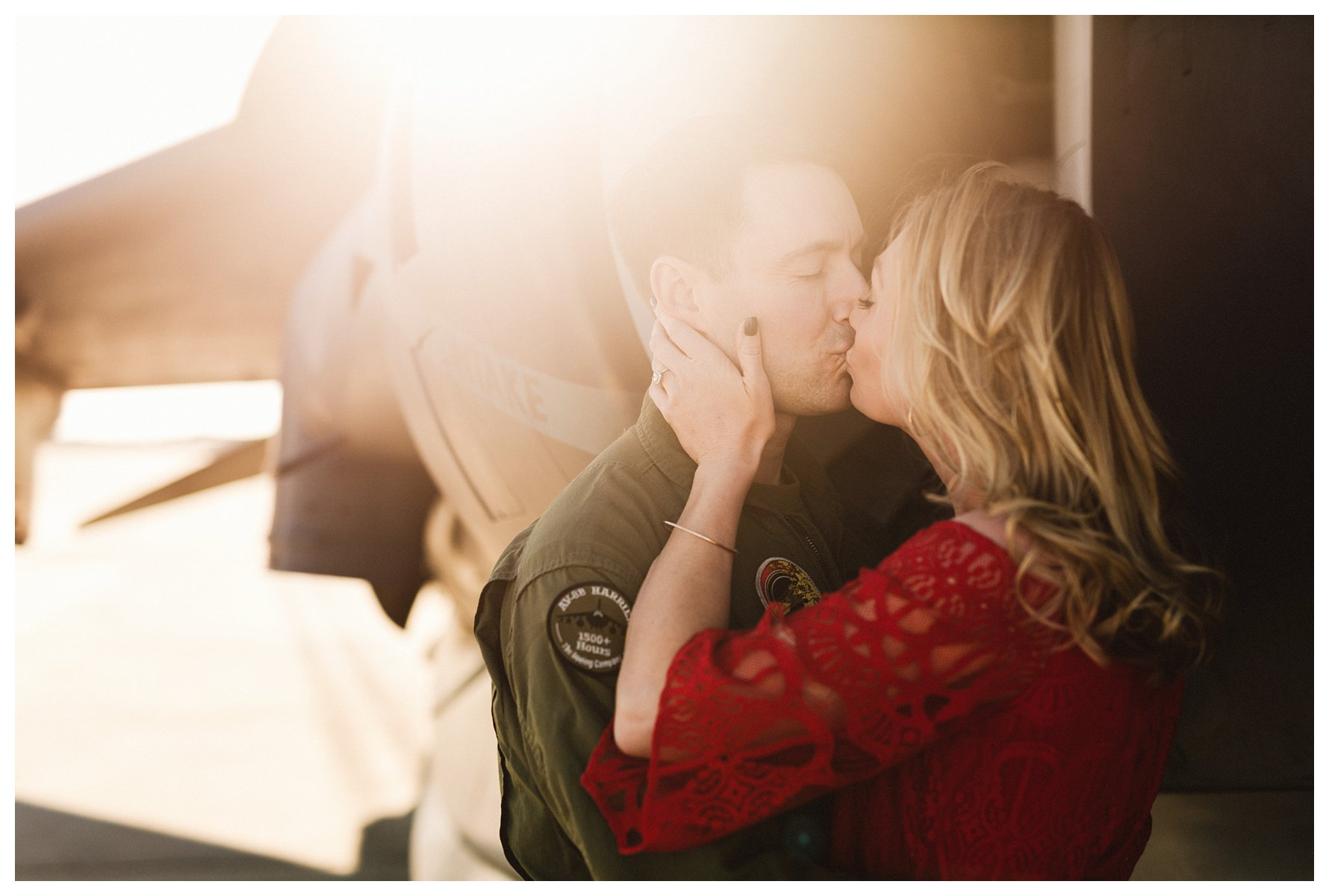 Engagement Session with Red Dress and Jets by Amanda and Grady