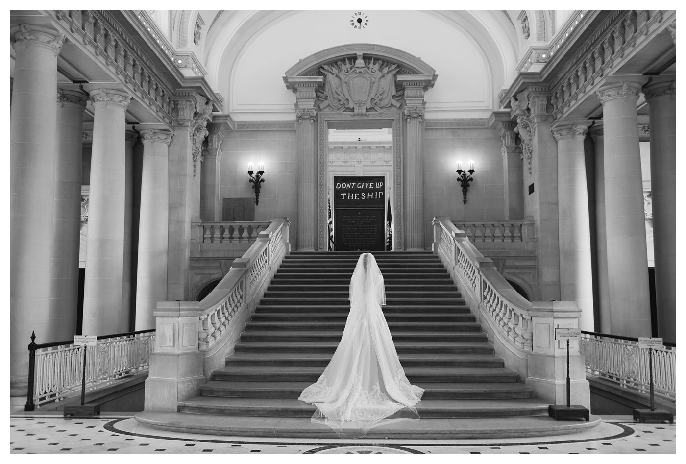 Bridal Portraits in Bancroft Hall at the United States Naval Academy by Amanda and Grady Photography