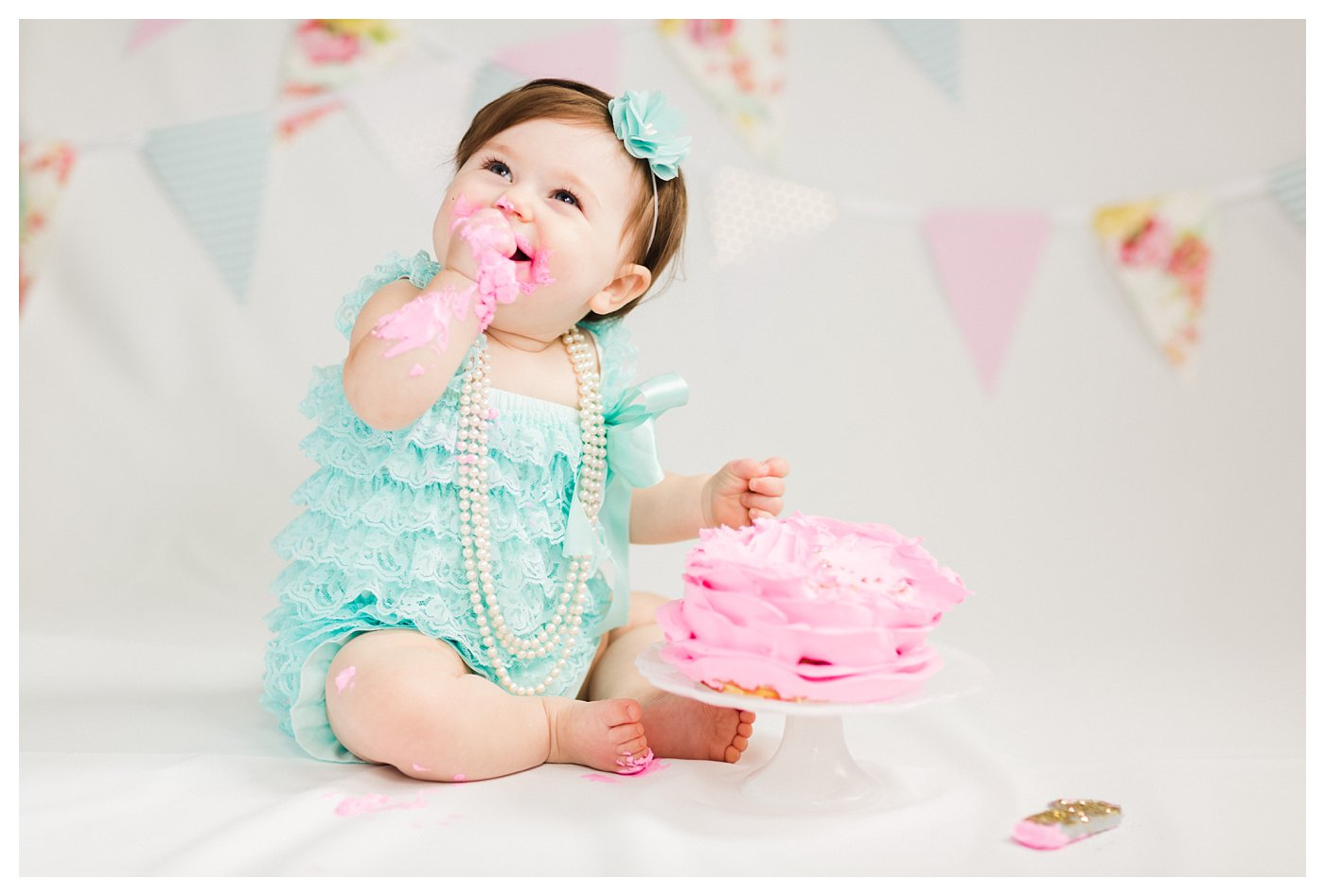 Aqua and Pink 1 Year Cake Smash Session